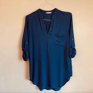 Lush size small V neck blue tunic Sheer 3/4 sleeve